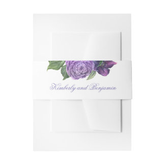 Plum and Lilac Purple Watercolor Flowers Elegant Invitation Belly Band