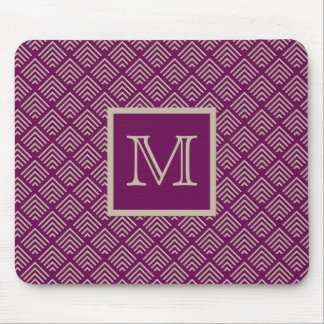 Plum and Natural Geometric Pattern Monogrammed Mouse Pad