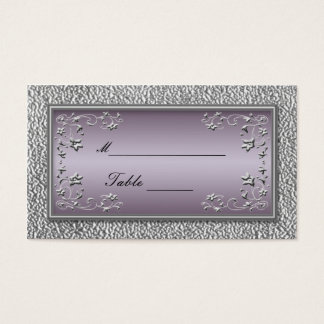 Plum and Pewter Floral Placecards Business Card