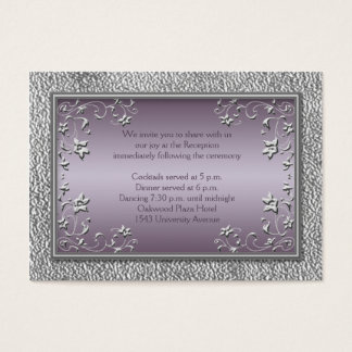 Plum and Pewter Reception Card