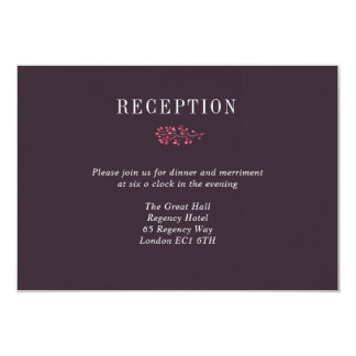 Plum and Pink Berry Wedding Reception Details Card