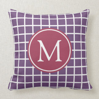 Plum and Pomegranate Lattice Monogram Throw Pillow