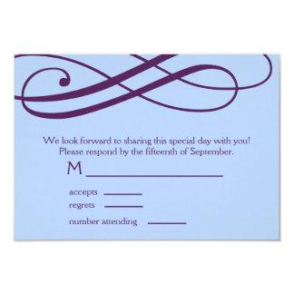 Plum and Powder Blue Swirls Response Card