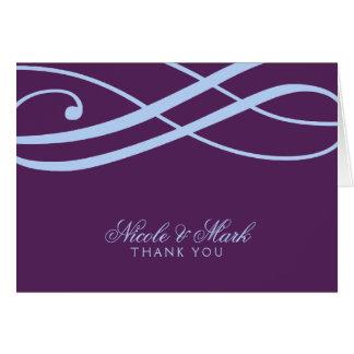 Plum and Powder Blue Swirls Thank You Card