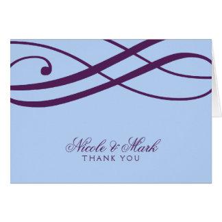 Plum and Powder Blue Swirls Thank You Cards