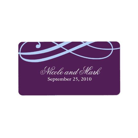 Plum and Powder Blue Wedding Favour Labels