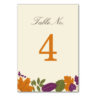 Plum and Pumpkin Fall Table Number Card Table Cards