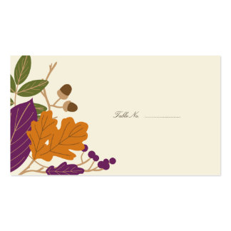 Plum and Pumpkin Fall Wedding Guest Table Cards Business Card