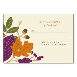 Plum and Pumpkin Fall Wedding RSVP Table Cards
