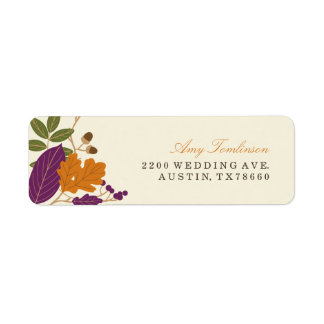 Plum and Pumpkin Fall Wreath Return Address Labels