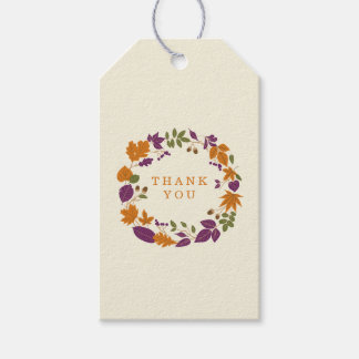 Plum and Pumpkin Fall Wreath Wedding Gift Tags Pack Of Gift Tags