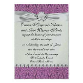 "plum and purple intricate swirl damask 4.5"" x 6.25"" invitation card"