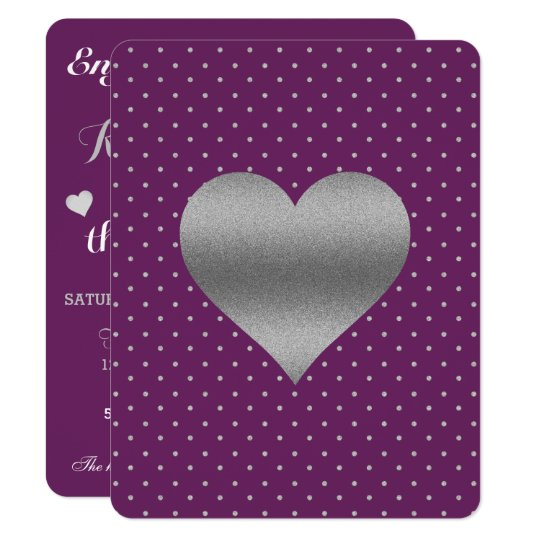 Plum And Silver Heart & Polka Dot Party Invitation