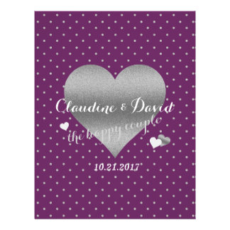 Plum And Silver Heart Polka Dot Wedding Flyer