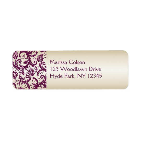 plum and Taupe Damask Return Address Label