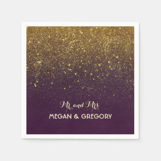 Plum and Vintage Gold Glitter Wedding Disposable Napkin