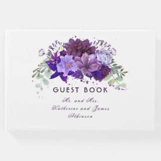 Plum and Violet Purple Floral Elegant Wedding Guest Book