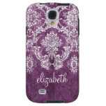 Plum and White Grunge Damask Pattern with Name