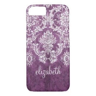 Plum and White Grunge Damask Pattern with Name iPhone 8/7 Case