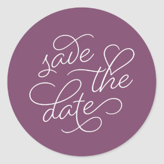 Plum and White Typography Save the Date Classic Round Sticker