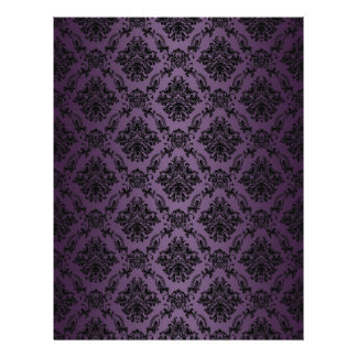 Plum Baroque Black Lace Pattern Paper