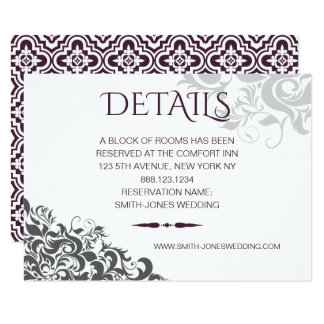 Plum Baroque Chandelier Wedding DETAILS Card