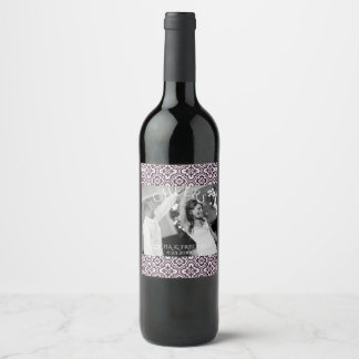 Plum Baroque Chandelier Wedding Photo Cheers Wine Label