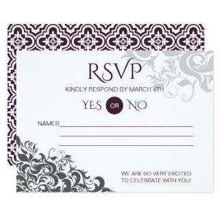 Plum Baroque Chandelier Wedding RSVP Card