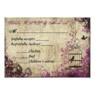 Plum Birdcage Vintage Wedding RSVP Card