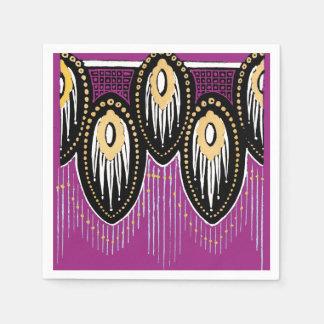 Plum Black and Gold Art Deco Design Paper Napkin