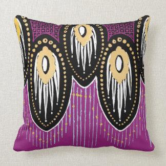 Plum Black and Gold Art Deco Design Throw Pillow