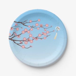 Plum Blossom and Glass Wind Chime on Light Blue Paper Plate