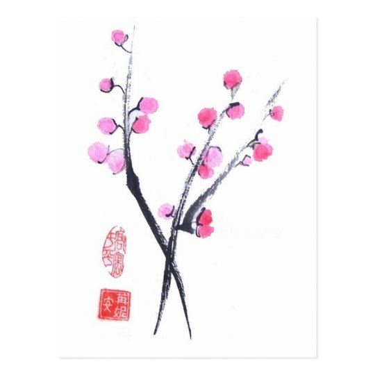 Plum Blossom Puffs in White Postcard