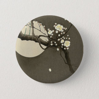 Plum Blossoms at Night by Ohara Koson Elegant 2 Inch Round Button