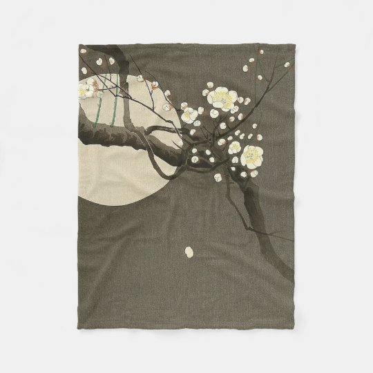 Plum Blossoms at Night by Ohara Koson Elegant Fleece Blanket