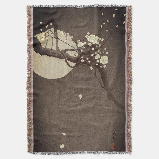 Plum Blossoms at Night by Ohara Koson Elegant Throw