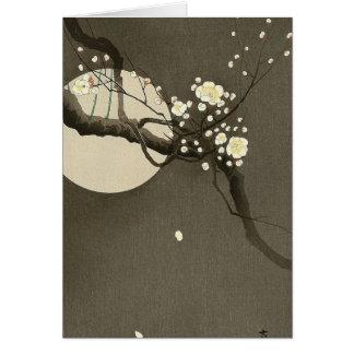 Plum Blossoms at Night by Ohara Koson Vintage Card