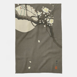 Plum Blossoms at Night by Ohara Koson Vintage Kitchen Towel