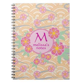 Plum Blossoms Japanese Ume Pink Orange Seigaiha Notebook