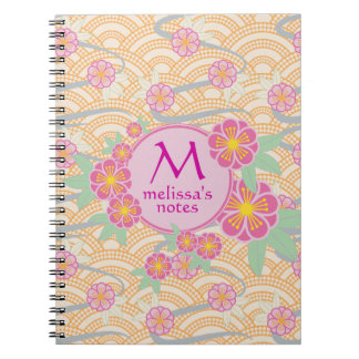 Plum Blossoms Japanese Ume Pink Orange Seigaiha Notebooks
