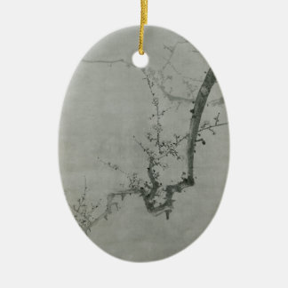 Plum Branch - Yi Yuwon Ceramic Oval Ornament