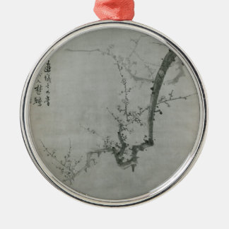 Plum Branch - Yi Yuwon Silver-Colored Round Ornament