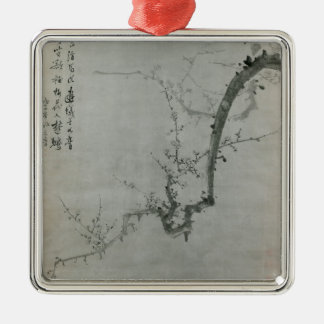 Plum Branch - Yi Yuwon Silver-Colored Square Ornament