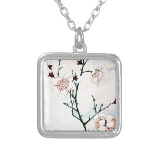 Plum Branches with Blossoms Ukiyo-e Asia Asian Art Silver Plated Necklace