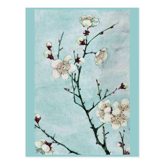 Plum branches with blossoms Ukiyo-e. Postcard