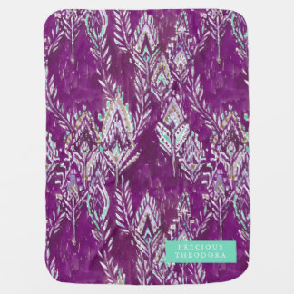 Plum Brave Feather Tribal Print Baby Blanket