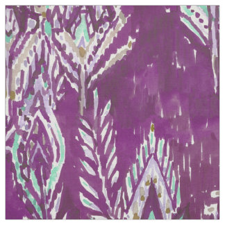 Plum Brave Feather Tribal Print Fabric