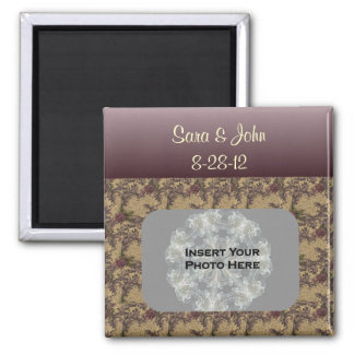 Plum Brown Flowers Wedding Photo Magnet