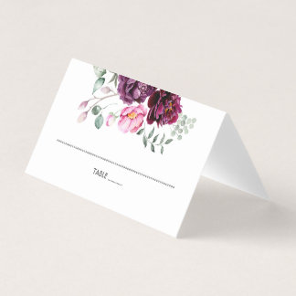 Plum Burgundy and Blush Floral Place Card
