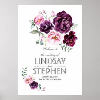 Plum Burgundy Blush Floral Watercolor Wedding Sign Poster
